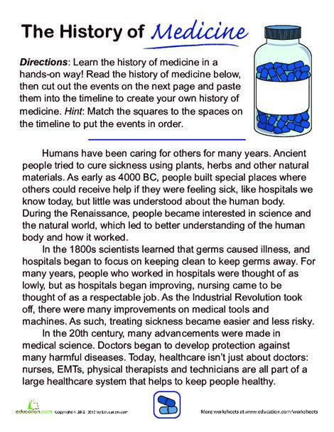 Third Grade Social studies Worksheets: History of Medicine