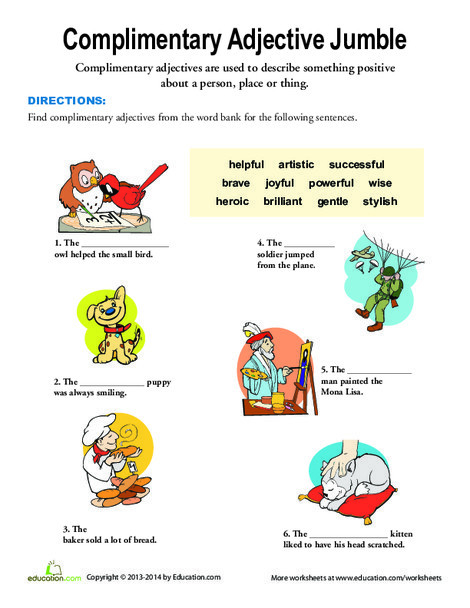 Second Grade Reading & Writing Worksheets: Complimentary Adjectives