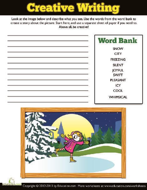 Fourth Grade Reading & Writing Worksheets: Write an Ice Skating Story