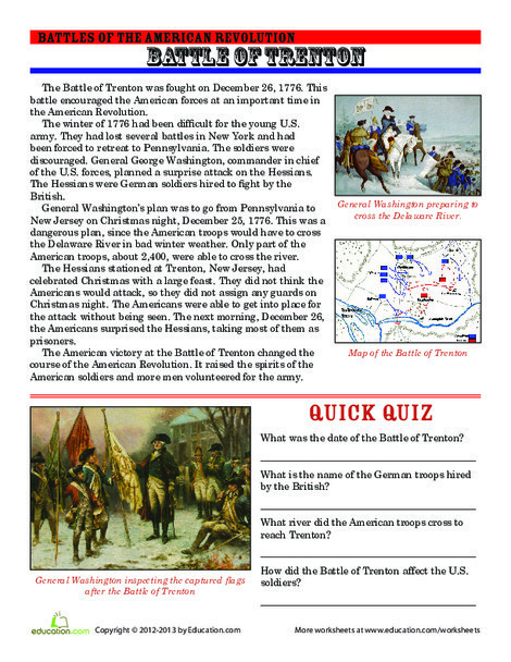 Third Grade Reading & Writing Worksheets: The Battle of Trenton