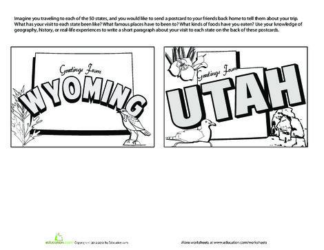 Fourth Grade Social studies Worksheets: United States Postcards #13