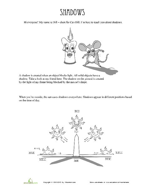 Second Grade Science Worksheets: Shadows