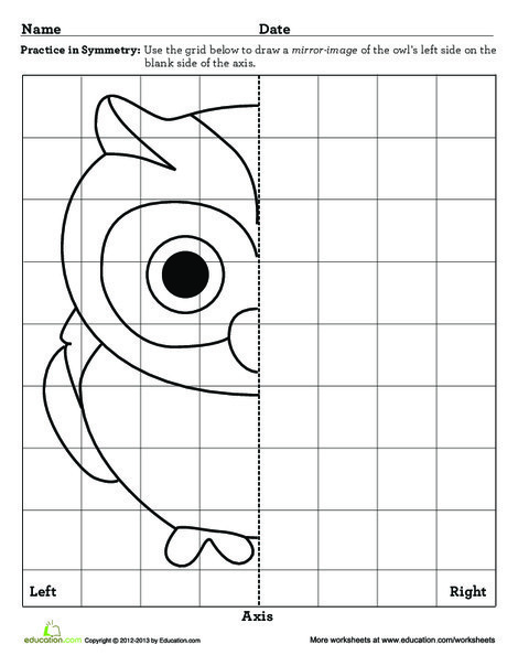 Third Grade Math Worksheets: Learning Symmetry: Owl