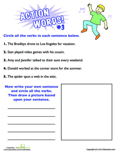 Second Grade Reading & Writing Worksheets: Action Words #3