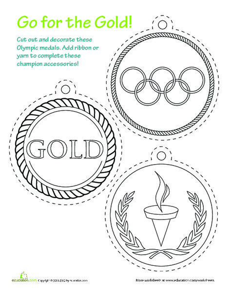 First Grade Coloring Worksheets: Printable Olympic Medals