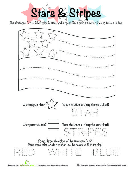 Preschool Reading & Writing Worksheets: Stars and Stripes