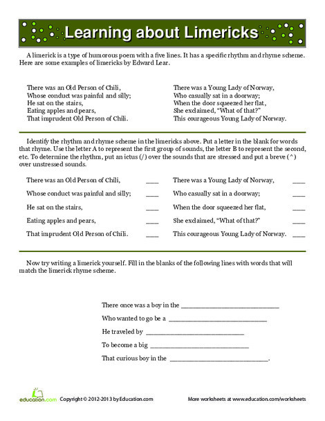 Fifth Grade Reading & Writing Worksheets: What Is a Limerick?