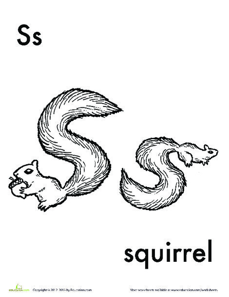 Kindergarten Reading & Writing Worksheets: S for Squirrel