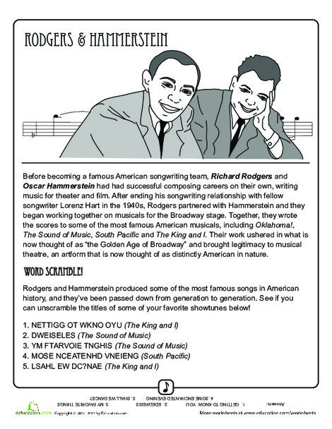 Fourth Grade Fine arts Worksheets: Rodgers and Hammerstein