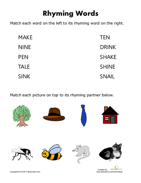 First Grade Reading & Writing Worksheets: Rhyming Words For Kids