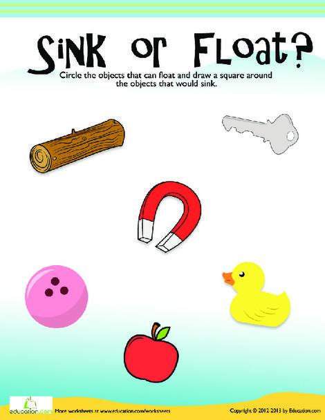 Kindergarten Science Worksheets: Floating and Sinking