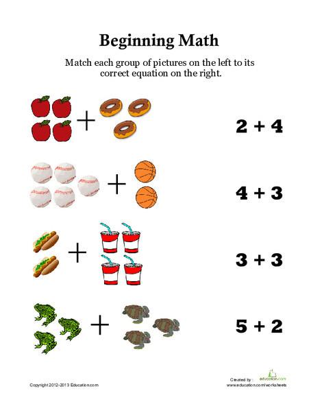 Kindergarten Math Worksheets: Picture Math