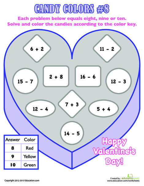 First Grade Math Worksheets: Valentine's Day Math Facts #8
