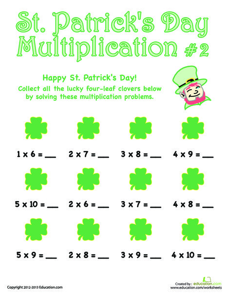 Third Grade Math Worksheets: St. Patrick's Day Multiplication #2