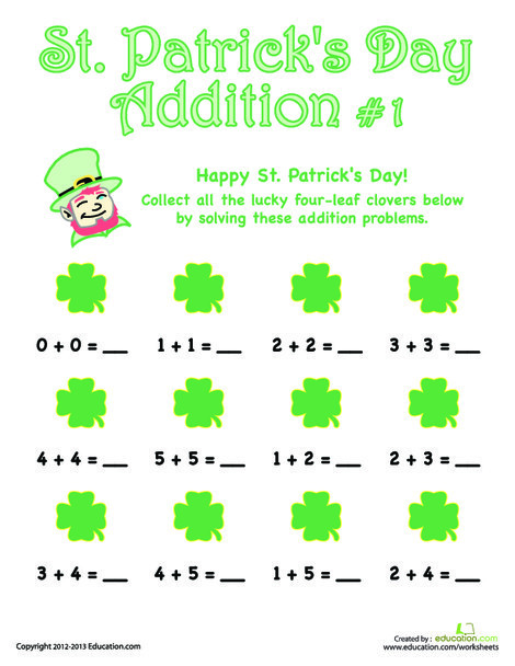 First Grade Math Worksheets: St. Patrick's Day Addition #1