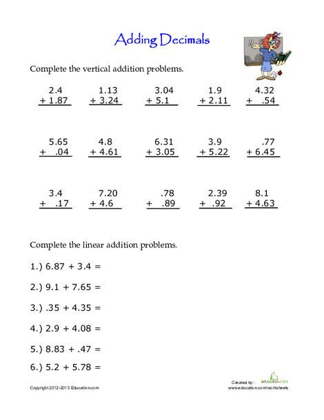 Fourth Grade Math Worksheets: Practice Adding Decimals