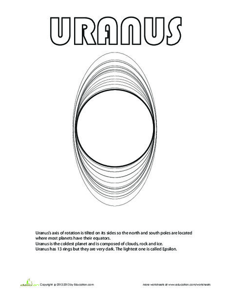 Second Grade Science Worksheets: Uranus Coloring Page
