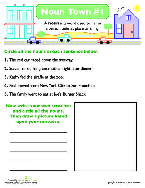 First Grade Reading & Writing Worksheets: Noun Town #1