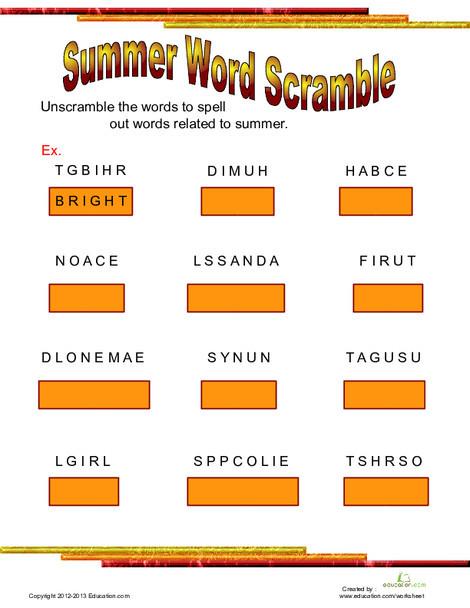 Third Grade Reading & Writing Worksheets: Summertime Word Scramble