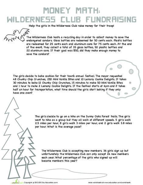 Fifth Grade Math Worksheets: Wilderness Word Problems