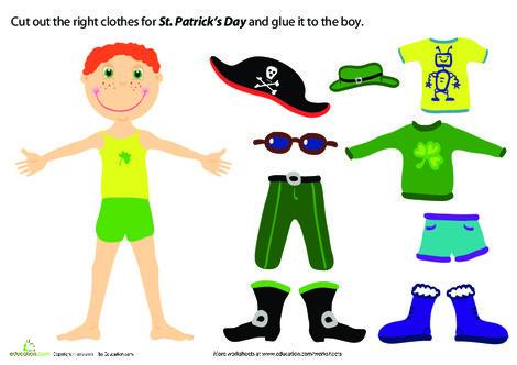 Preschool Arts & crafts Worksheets: St. Patrick's Day Paper Doll Boy