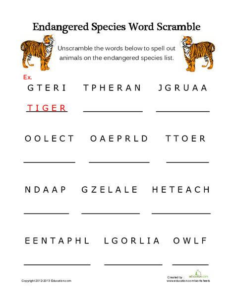 Third Grade Reading & Writing Worksheets: Endangered Species Word Scramble