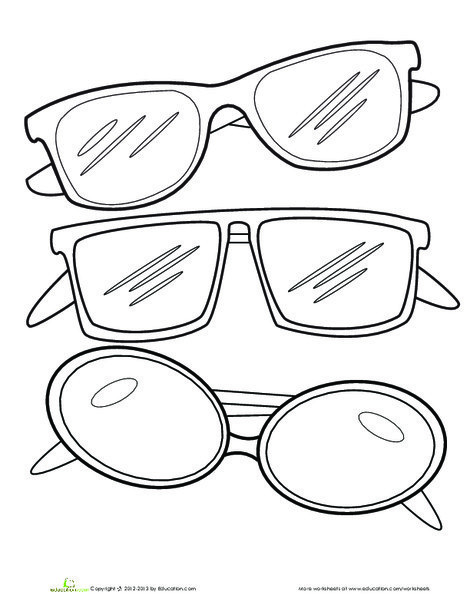 Kindergarten Coloring Worksheets: Sunglasses Coloring Page