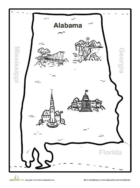 Second Grade Coloring Worksheets: Map of Alabama