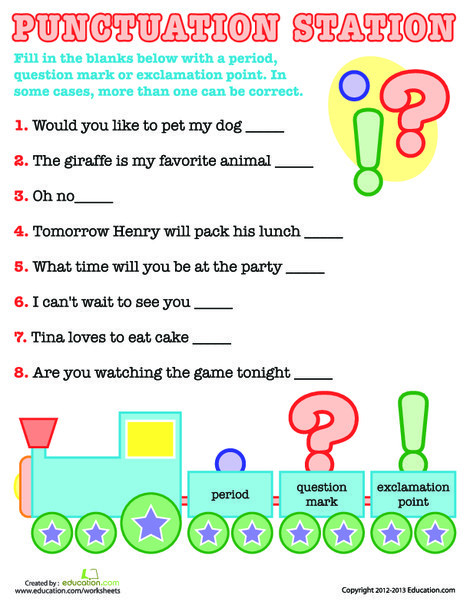 First Grade Reading & Writing Worksheets: Basic Punctuation
