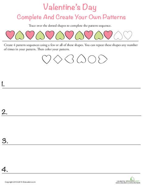 First Grade Math Worksheets: Valentine Heart Pattern