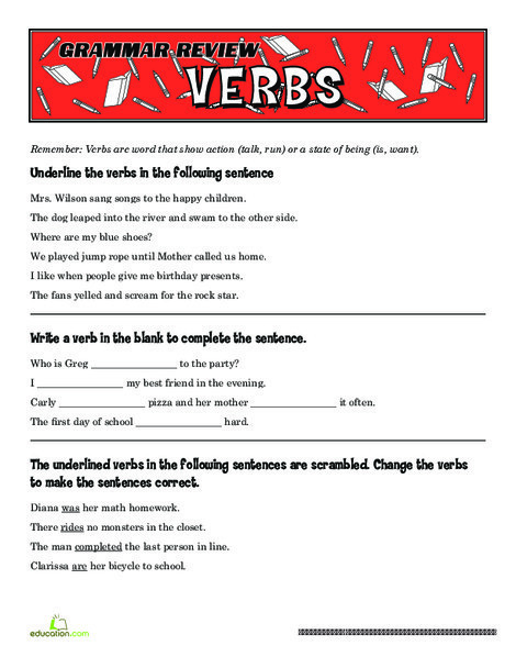 Fifth Grade Reading & Writing Worksheets: Grammar Review: Verbs