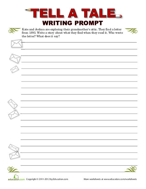 Fifth Grade Reading & Writing Worksheets: Creative Writing: Mystery Letter