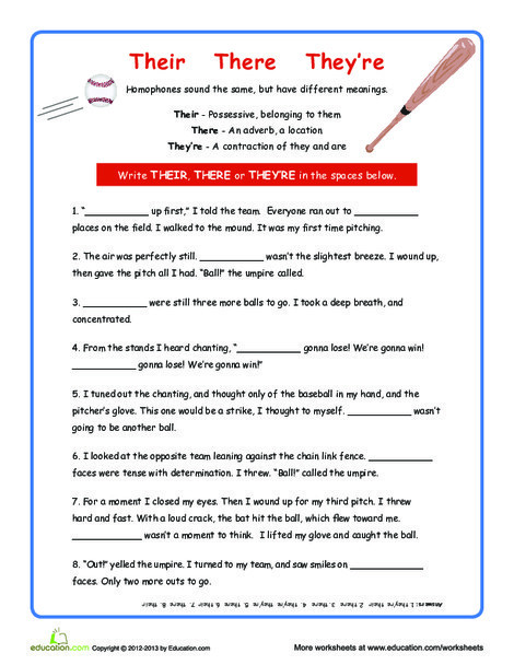 Fourth Grade Reading & Writing Worksheets: Their There and They're