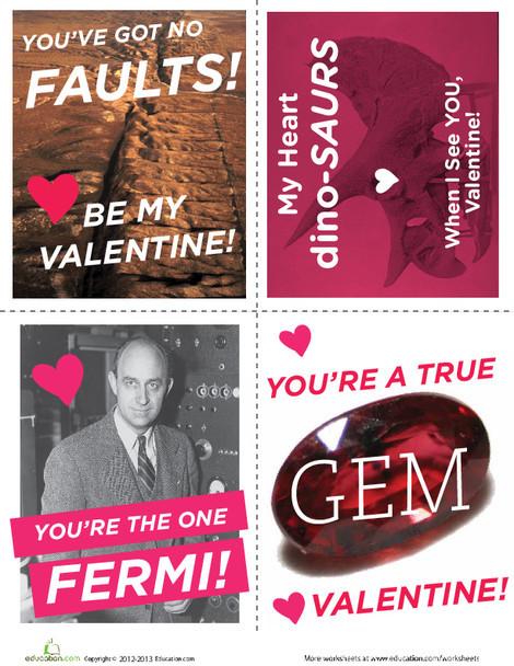 Third Grade Arts & crafts Worksheets: Science Valentine Cards