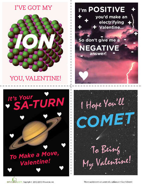 Third Grade Arts & crafts Worksheets: Science Valentine's Day Cards