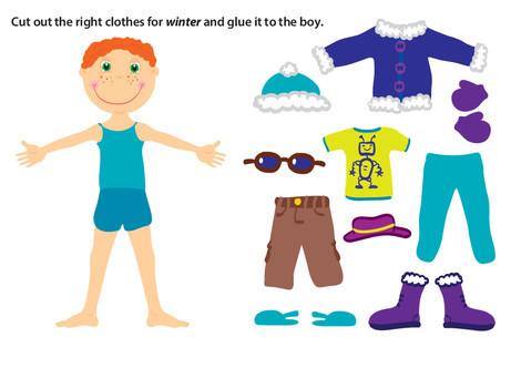 Preschool Science Worksheets: Winter Paper Doll Boy