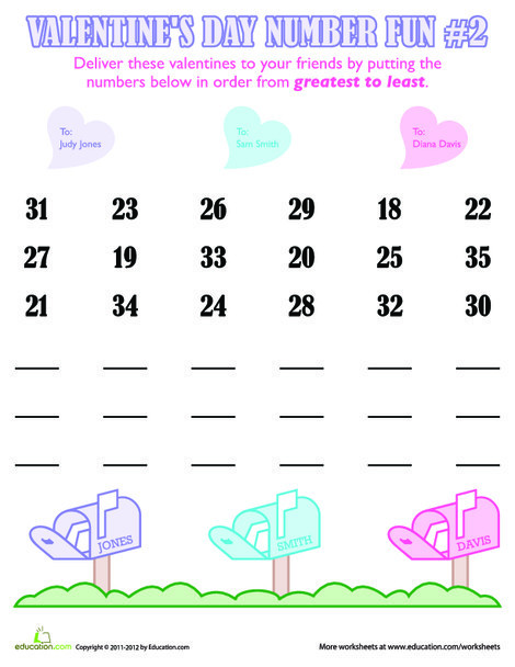 First Grade Math Worksheets: Valentine's Day Number Fun #2