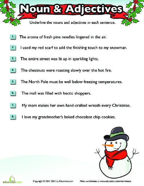 Fourth Grade Reading & Writing Worksheets: Christmas Grammar