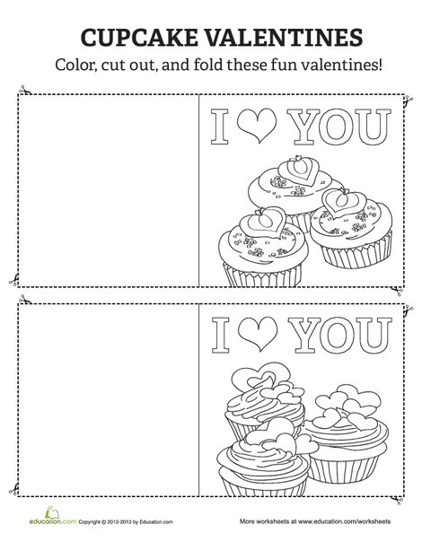 Kindergarten Arts & crafts Worksheets: Cupcake Valentines