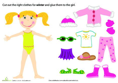 Preschool Science Worksheets: Winter Paper Doll Girl