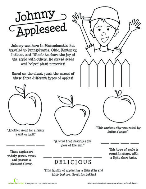Third Grade Reading & Writing Worksheets: Apple Names and Johnny Appleseed