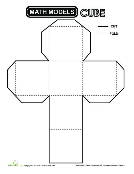 Second Grade Math Worksheets: Cube Cut-Out
