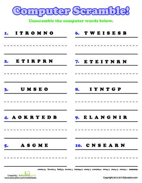 Third Grade Reading & Writing Worksheets: Computer Word Scramble
