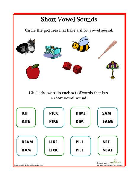 Kindergarten Reading & Writing Worksheets: Short Vowels