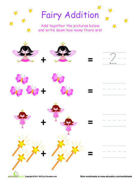 Preschool Math Worksheets: Simple Fairy Addition