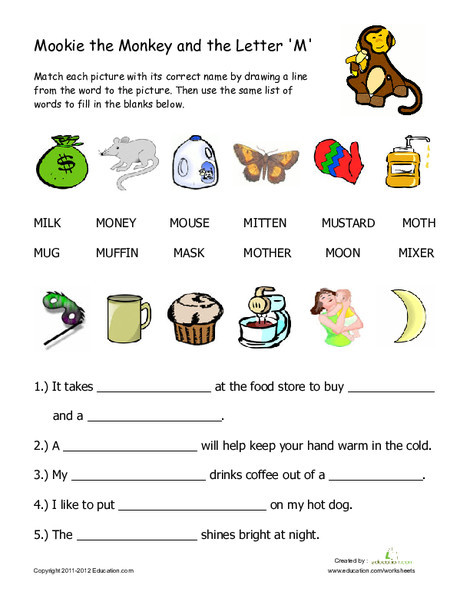 "First Grade Reading & Writing Worksheets: Words That Begin with ""M"""