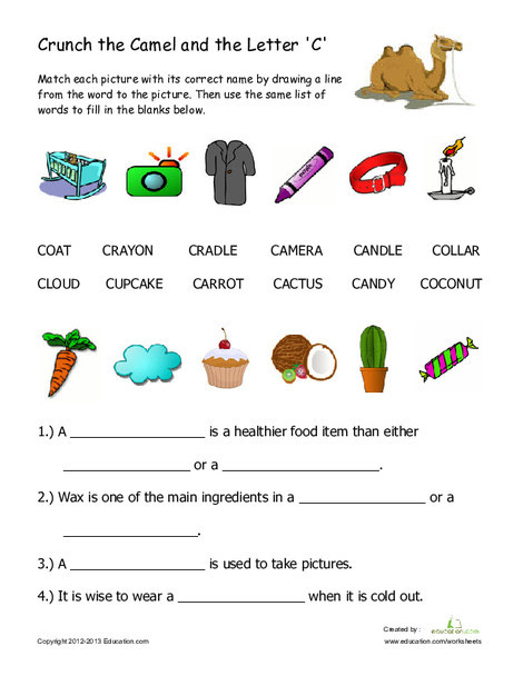 """First Grade Reading & Writing Worksheets: Words That Begin With """"C"""""""