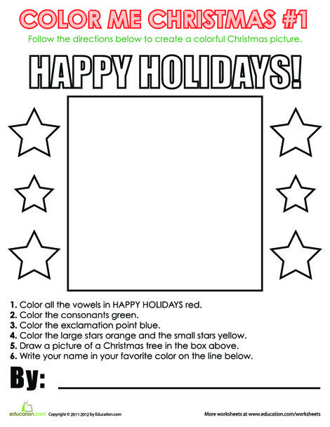 First Grade Holidays Worksheets: Christmas Coloring Activity