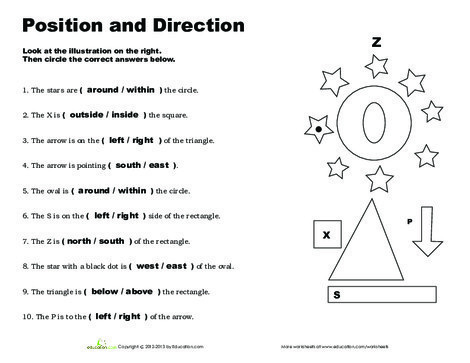 First Grade Social studies Worksheets: Position and Direction