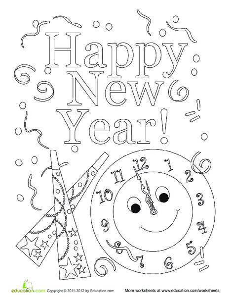 Kindergarten Holidays Worksheets: Happy New Year Coloring Sheet